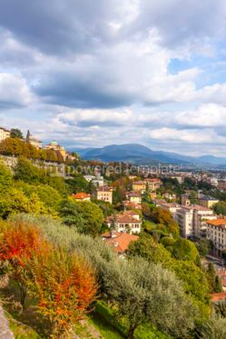 Architecture : Aerial view of Bergamo city Lombardy Italy #03856
