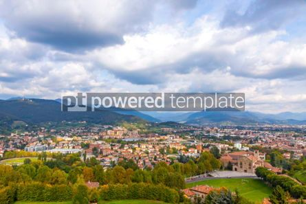 Architecture : Aerial view of Bergamo city Lombardy Italy #03858