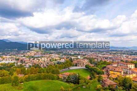 Architecture : Aerial view of Bergamo city Lombardy Italy #03859