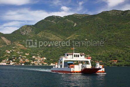 Transportation: Ferry in the Kotor bay (Boka Kotorska) near Perast village Mont #03883