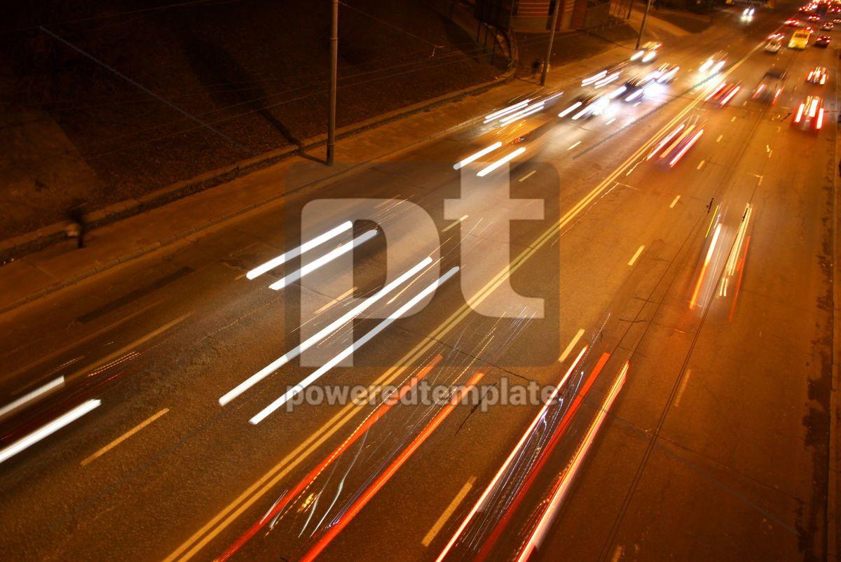 Long exposure of night road traffic in Kyiv Ukraine, 03884, Transportation — PoweredTemplate.com