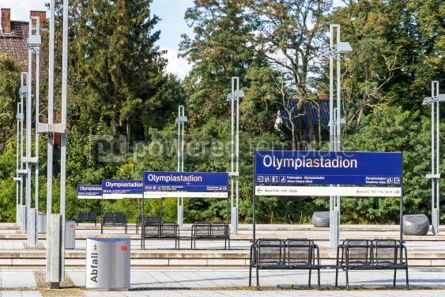 Transportation: Olympiastadion S-Bahn station in Berlin Germany #03887