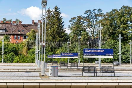 Transportation: Olympiastadion S-Bahn station in Berlin Germany #03888