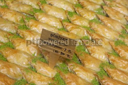 Food & Drink: Traditional Turkish baklava (sweet dessert made of thin pastry  #03907