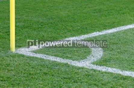 Sports : Close-up view of corner kick of the green soccer (football) fiel #03912