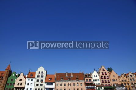 Architecture : Colourful old buildings with blue sky background in City of Gdan #03975