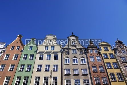 Architecture : Colourful old buildings with blue sky background in City of Gdan #03976