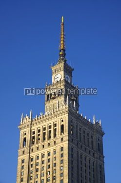 Architecture: Fragment of tower of Palace of Culture and Science in Warsaw Po #03983
