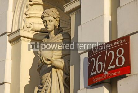 Architecture: Sculpture of Muse (Urania) at the main gate of University of War #03988