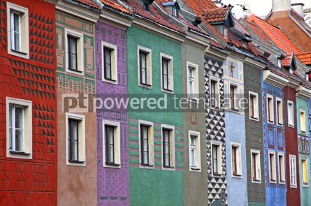 Architecture: Close-up colourful houses at Old Market Square in Poznan Poland #03997