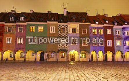 Architecture: Night view of colourful houses in Old Market Square in Poznan P #03998