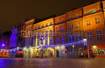 Architecture: Night view of colourful houses in Old Market Square in Poznan P #03999