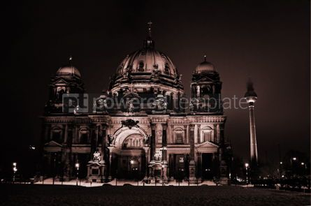 Architecture: Berliner Dom at night. Berlin Germany (sepia toned) #04009