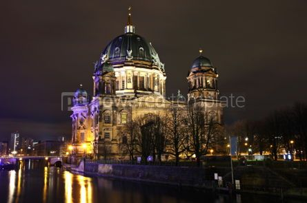 Architecture: Berlin Cathedral (Berliner Dom) at night. Berlin Germany #04013