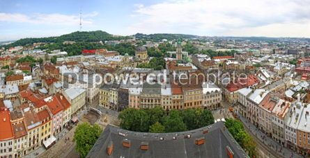 Architecture : Panoramic view of Market Square and Old town of Lviv city Ukrai #04029