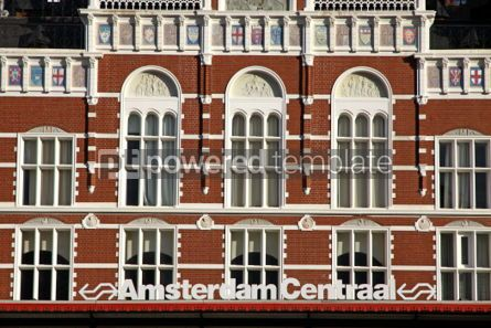 Architecture : Facade of building of Central Railway Station in Amsterdam (Amst #04035