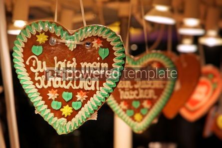 Holidays: Traditional German handmade gingerbread heart used as christmas  #04045