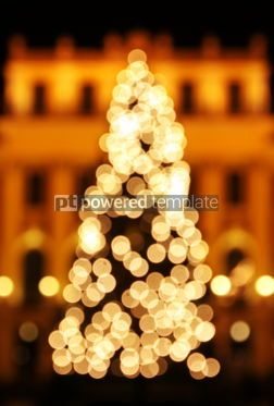Holidays: New Year's tree made from golden bokeh lights #04046