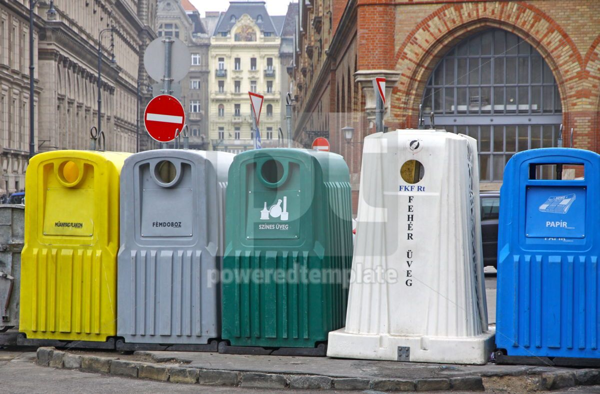 Five recycle bins for waste segregation in Budapest Hungary, 04059, Industrial — PoweredTemplate.com