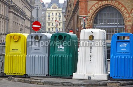 Industrial: Five recycle bins for waste segregation in Budapest Hungary #04059