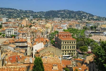 Architecture : Bird-eye panoramic view of Cannes city France #04061
