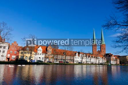 Architecture : Skyline of the medieval city of Lubeck Germany #04068