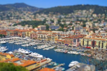 Architecture : Aerial view of sea port of City of Nice France. Tilt-shift mini #04070