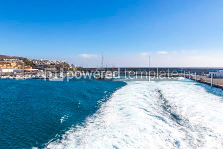 Nature: Water trail foaming behind a ferry boat in Atlantic ocean #04072
