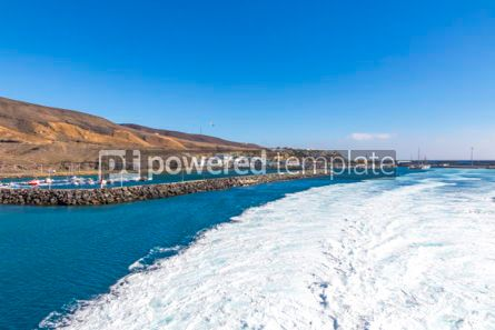 Nature: Water trail foaming behind a ferry boat in Atlantic ocean #04073