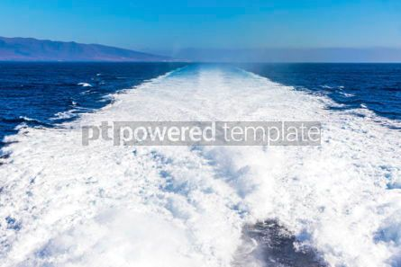 Nature: Water trail foaming behind a ferry boat in Atlantic ocean #04075