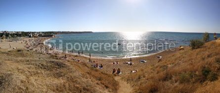 Nature: Panoramic view of crowded summer beach in Sevastopol Crimea pen #04109