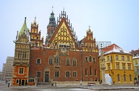 Architecture : Market square and facade of Town Hall in Wroclaw city Poland #04113