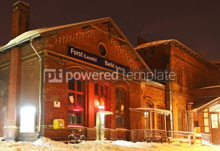 Architecture : Building of railway station of Forst (Lausitz) city Germany #04114