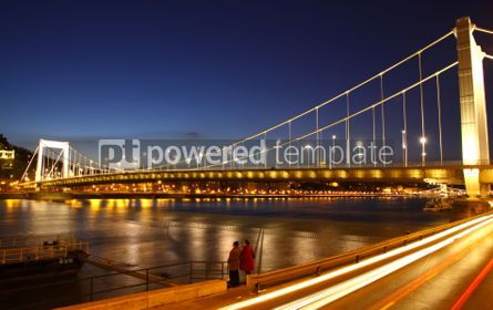 Architecture : View to Elisabeth Bridge and Dunabe river at evening. Budapest  #04122