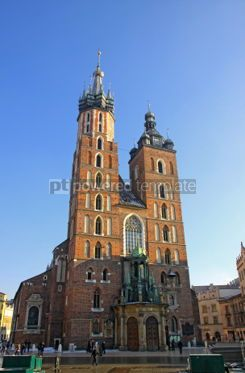 Architecture : Facade of St. Mary's Basilica famous landmark in Krakow Poland #04125