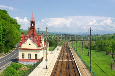 Transportation: Railway tracks and small railway station in Carpathian mountains #04138