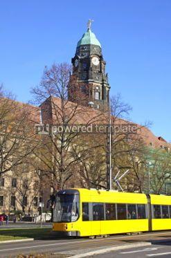 Transportation: Modern tram on the street of Dresden Germany #04140