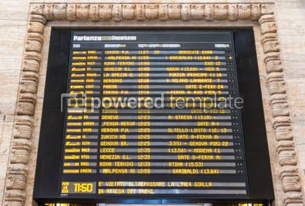 Transportation: Departure schedule board of Milan Central Railway Station Italy #04142