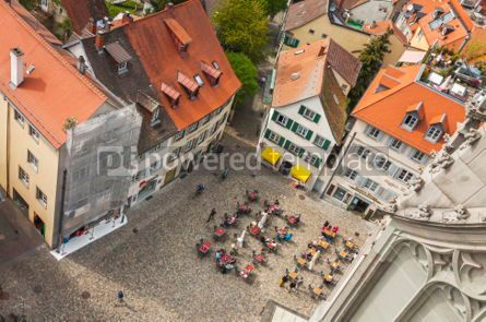 Architecture : People sitting at outdoors cafe in old town of Konstanz Germany #04158
