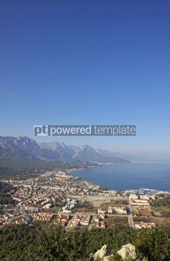 Architecture: Aerial view of Kemer city Mediterranean seacoast Turkey #04160