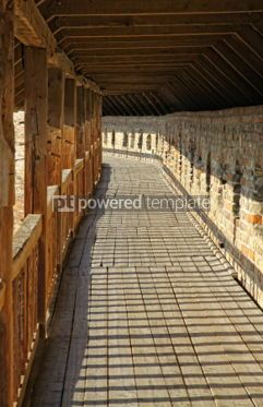 Architecture : Row of wooden columns in Medieval Ljubart fortress in Lutsk Ukr #04181