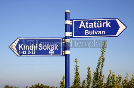 Architecture : Direction signs on a post in Kemer Turkey #04187