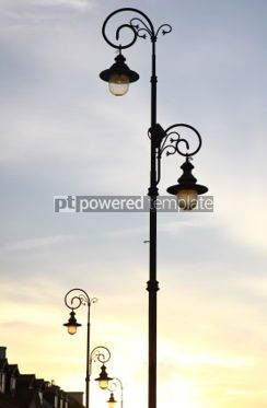 Architecture : The retro-styled lamppost on the street of Warsaw Poland #04189