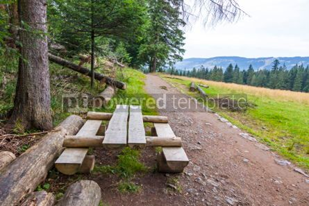 Nature: Wooden bench and table for relax during the hiking #04225