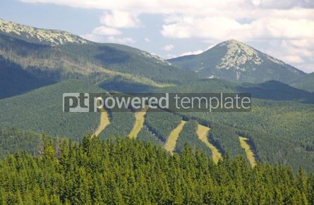 Nature: Tracks of famous Bukovel ski resort in summer Carpathian mounta #04230