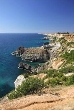 Nature: Summer view of Black sea coast near Fiolent cape Crimea Ukrain #04240