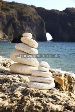 Nature: Stacks of stones on the beach #04246