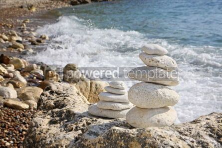 Nature: Stacks of stones on the beach #04247