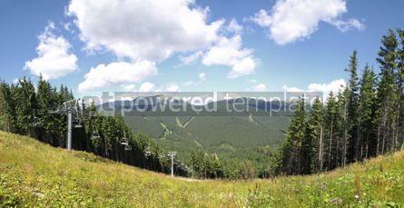 Nature: Panoramic view of track of Bukovel ski resort in summer Carpath #04252