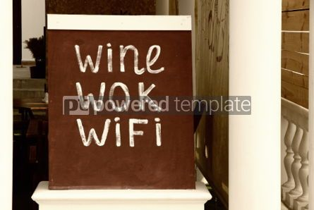 Food & Drink: Decorative information signboard *Wine - Wok - WiFi* at the rest #04263